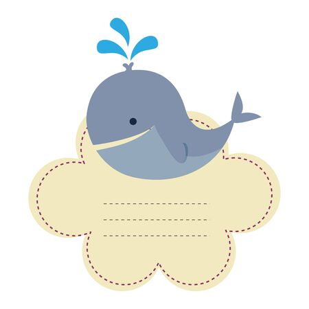 baby shower card with little whale vector illustration design Ilustrace