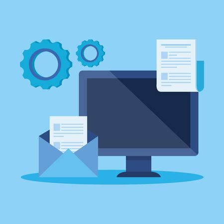 computer technology with letter and document with gears over blue background, vector illustration