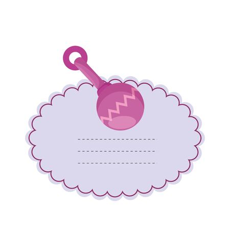 baby shower card with bell toy vector illustration design