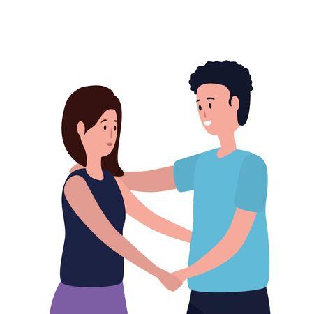 cute lovers couple avatars characters vector illustration design Ilustrace