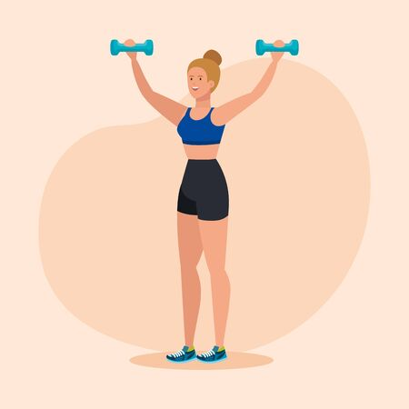 fitness with dumbbells to healthy exercise activity over pink background, vector illustration