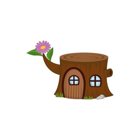 Tronc d'arbre maison icône de conte de fées conception d'illustration vectorielle