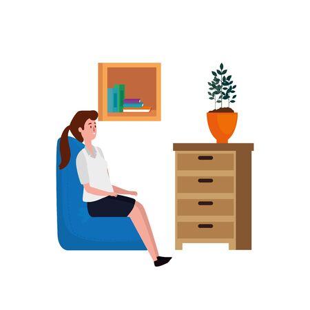 woman in living room place scene vector illustration design