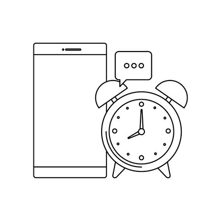 alarm clock with smartphone device vector illustration design