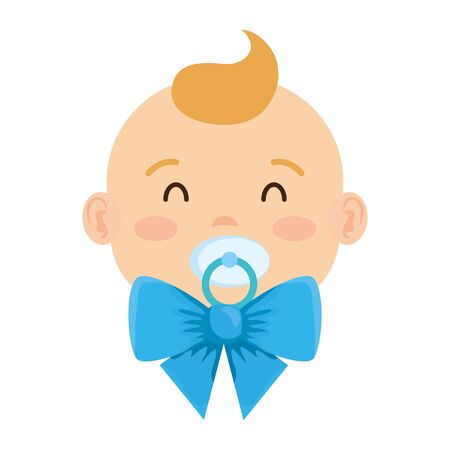 cute little baby boy with pacifier character vector illustration design 向量圖像