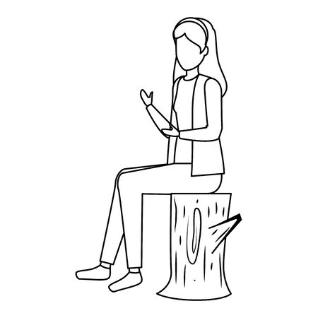 happy young woman seated in tree trunk vector illustration design Stock Illustratie