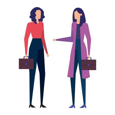 elegant businesswomen workers avatars characters vector illustration design