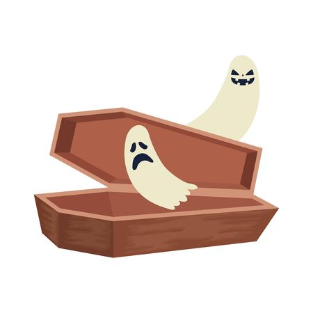 halloween coffin with ghosts isolated icon vector illustration design