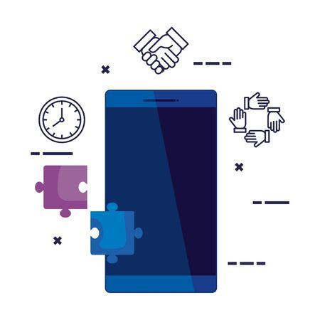 smartphone device with social media icons vector illustration design Standard-Bild - 133304084