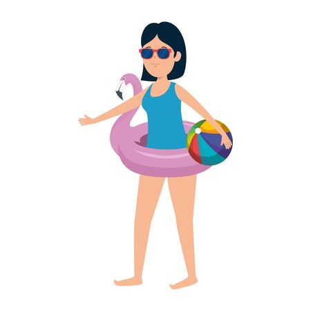 young girl with flemish float and ball beach toy vector illustration design