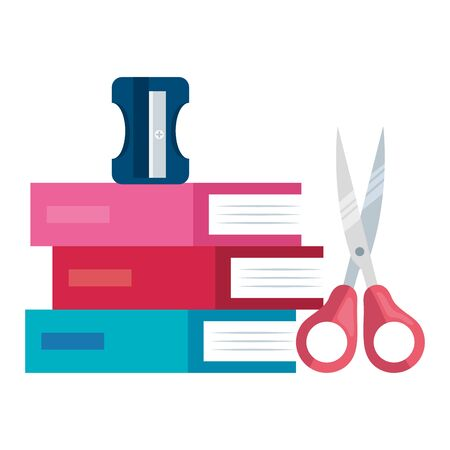 pile textbooks and scissors and sharpener vector illustration design