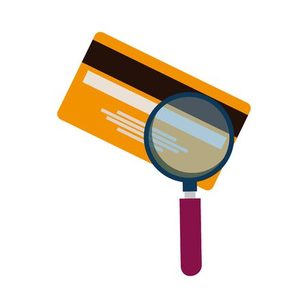 credit card money plastic with magnifying glass vector illustration design