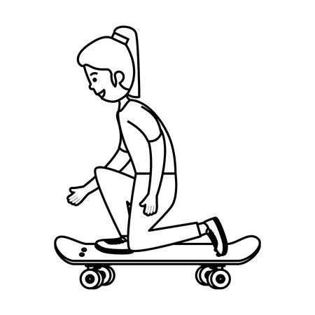 happy young girl in skateboard vector illustration design Illustration