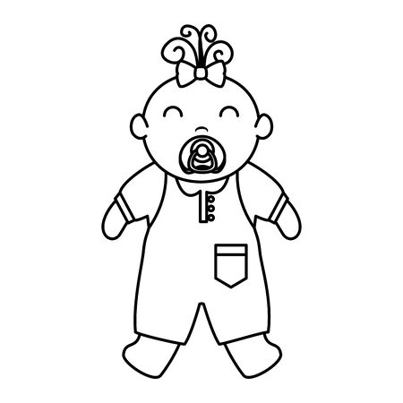 cute little baby girl character vector illustration design Ilustração