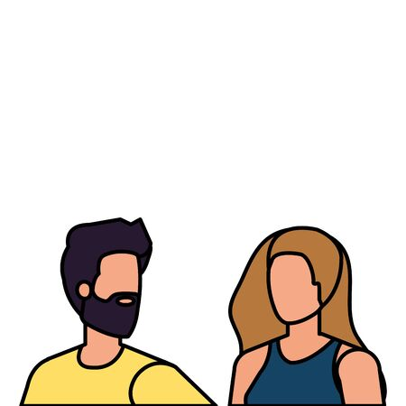 young lovers couple avatars characters vector illustration design Ilustrace