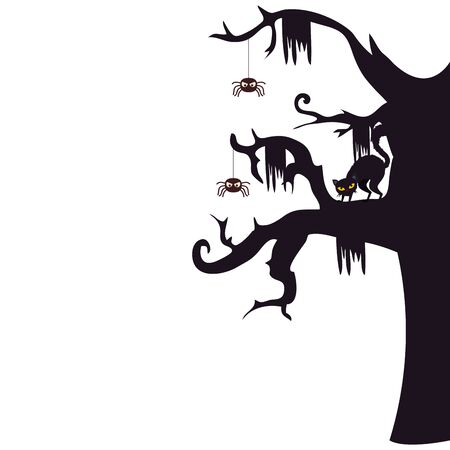 halloween haunted dry tree with spiders and cat black vector illustration design Stock Illustratie