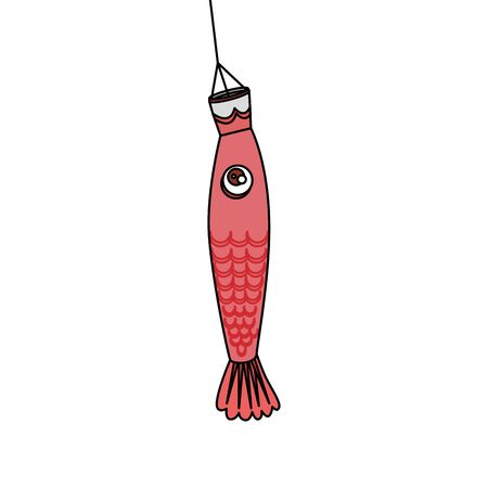 chinese fish decorative hanging icon vector illustration design
