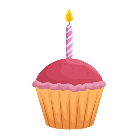 sweet cupcake with candle pastry icon vector illustration design Archivio Fotografico - 133320025