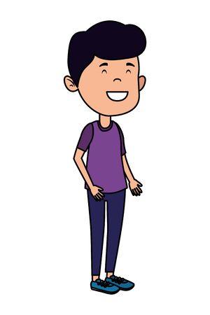 happy student boy comic character vector illustration design