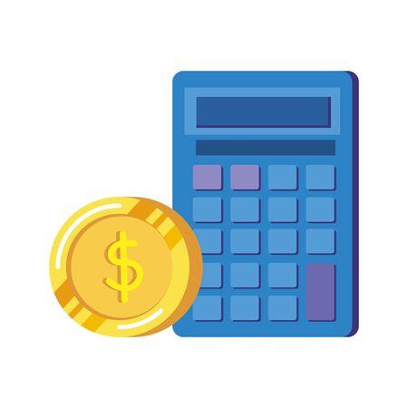 coins money dollars with calculator vector illustration design  イラスト・ベクター素材
