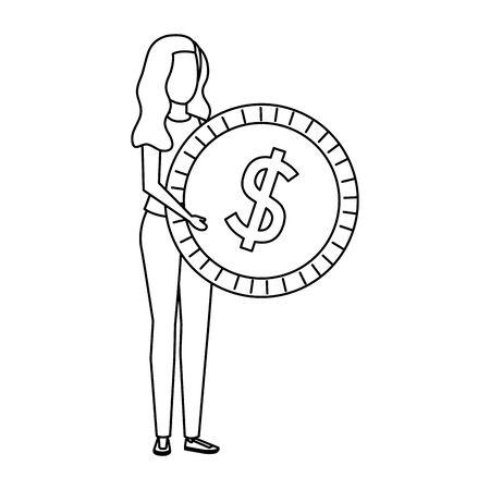 young woman lifting coin money dollar vector illustration design