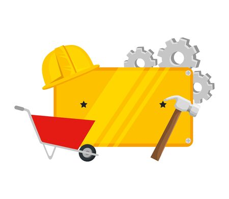 metal plate with wheelbarrow and tools vector illustration design Stock Vector - 133349719