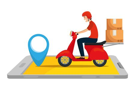 worker of delivery service in motorcycle with smartphone vector illustration design Ilustracja