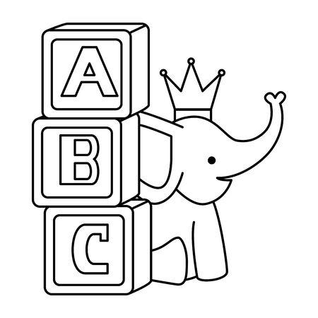 cute little elephant with blocks alphabet vector illustration design Foto de archivo - 133331751