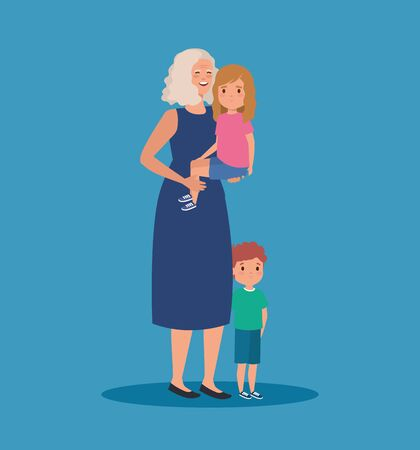 smile grandmother with girl and boy kids with hairstyle over blue background, vector illustration