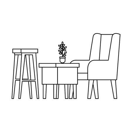 Cómodo sofá y mesa de madera, diseño de ilustraciones vectoriales de escena de sala de estar