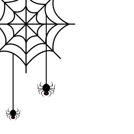 Spinnen von Halloween im Spinnennetz-Vektor-Illustrationsdesign Vektorgrafik