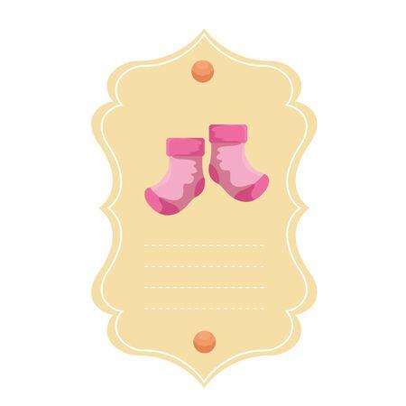 baby shower card with socks vector illustration design Ilustrace
