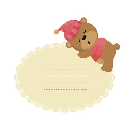 baby shower card with little bear teddy sleeping vector illustration design