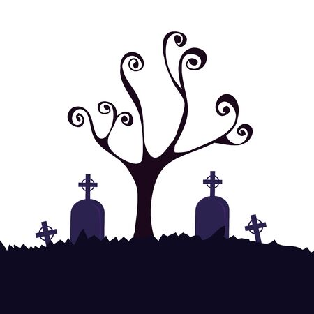halloween dry tree with tombs in cemetery vector illustration design