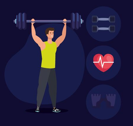 fitness man with weight and healthy exercise over blue background, vector illustration