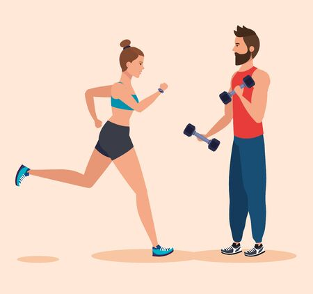 woman running and man with dumbbells to training over pink background, vector illustration