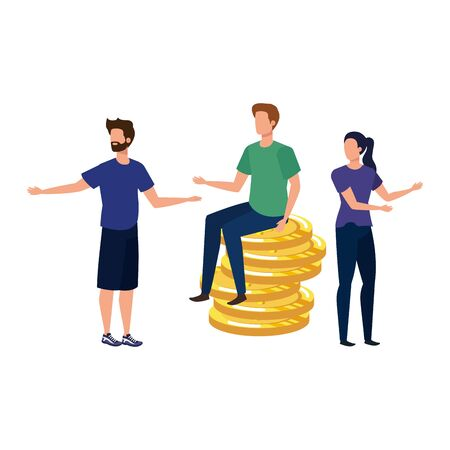 group of people with coins money dollars characters vector illustration design