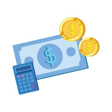 coins and bills money dollars with calculator vector illustration design Zdjęcie Seryjne - 133460262