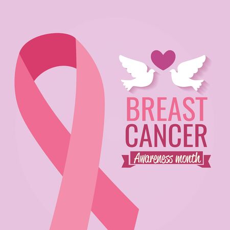 poster breast cancer awareness month with doves and ribbon vector illustration design