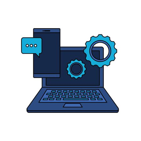 laptop computer and smartphone devices vector illustration design