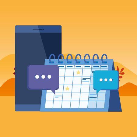 smartphone device with calendar reminder vector illustration design