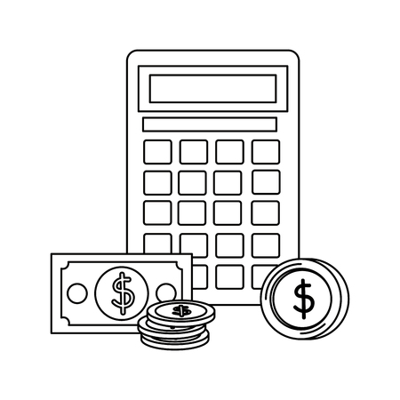 coins and bills money dollars with calculator vector illustration design Zdjęcie Seryjne - 133463990