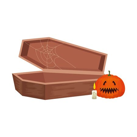 halloween coffin with pumpkin and candle vector illustration design