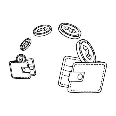 wallets money with coins dollars vector illustration design Zdjęcie Seryjne - 133464018