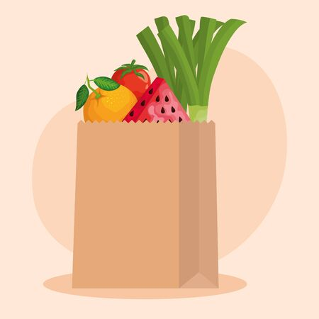 orange with watermelon fruits and green onion with tomato over pink background, vector illustration