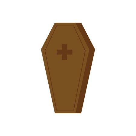 halloween coffin spooky isolated icon vector illustration design