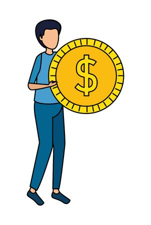 young man lifting coin money dollar vector illustration design Zdjęcie Seryjne - 133464722