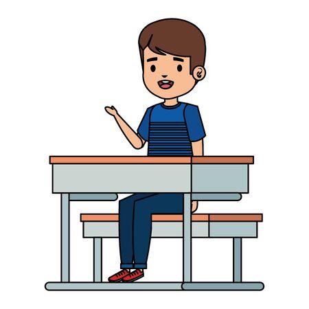 happy little student boy seated in school desk vector illustration design Foto de archivo - 133465325