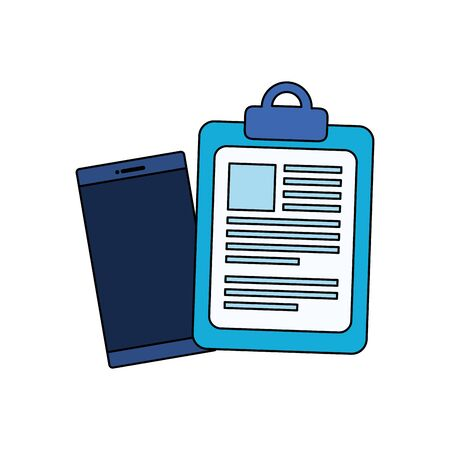 checklist clipboard with smartphone device vector illustration design