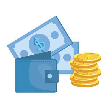 coins and bills money dollars with wallet vector illustration design Zdjęcie Seryjne - 133467725